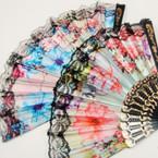 """9"""" Blk Handle Lace Lite Flower Print Satin Hand Fan .54 ea"""