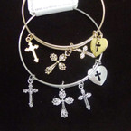 Gold & Silver Wire Fashion Bracelet w/ Cross Charms .54 ea