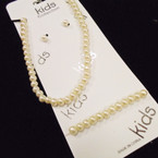 Kid's All Cream Color  Pearl Necklace Set w/ Bracelet .54 per set