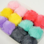 "4"" Faux Fur Fashion Keychain/Purse Charm Asst Lite Colors .66 each"
