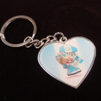 Heart Shaped Metal 3D Guatemala Flag Keychains 12 per pk .54 each