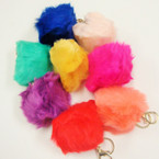 "3.5"" Faux Fur Keychain Asst Colors 12 per pk @ .58 each"