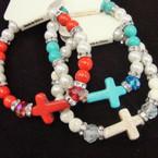 3 Color Pearl,Stone & Crystal Bead Cross Fashion Bracelets .54 ea