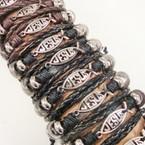 3 Strand Teen Leather Bracelets w/ JESUS Fish   .54 ea