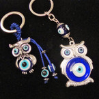 2 Style Wise Owl Keychains w/ Eye Beads .54 each