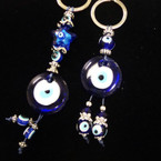 2 Style Glass Eye of Protection Keychains w/ Dangle Eye Beads .54 each