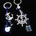 2 Style Glass Eye of Protection Keychains w/ Silver Anchors  .54 each