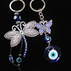 2 Style Glass Eye of Protection Keychains w/ Silver Dragonfly/Butterfly  .54 each