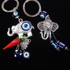 2 Style Silver Elephant Keychains w/ Eye Beads .54 each