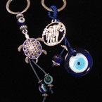 2 Style Silver Elephant & Turtle  Keychains w/ Eye Beads .54 each