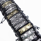 Teen Leather Bracelet w/ Mixed Style Skulls .54 each
