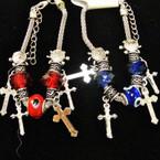 Silver Cross Charm Bracelets w/ Red & Blue Beads .54 each