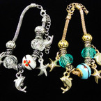 Pandora Style Gold & Silver Bracelets w/ Starfish & Dolphin Charms .56 each