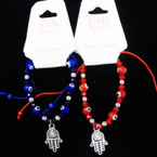 Kid's Red & Blue Eye Bead Bracelet w/ Silver Hamsa Charm .54 each