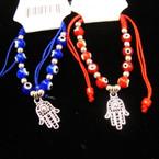 Kid's Red & Blue Eye Bead Bracelet w/ Silver Hamsa Charm .54 ea