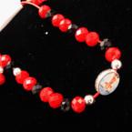 Kid's Size Red & Blk Bead Bracelet w/ Baby Jesus Charm .54 ea