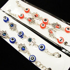 Red & Blue Eye Beaded Anklets w/ Silver Hamsa Charms .54 ea