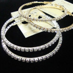"Best Value 2.5"" Gold & Silver Rhinestone Hoop Earrings .54 per pair"