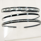 3 Pack Black Fashion Headbands w/ Crystal Stones .54 per set
