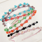 Glitter Fashion Headband w/ Crystals & Colored Stones .54 each
