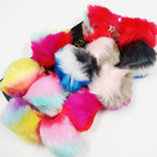 "3"" Round Faux Fur Multi Color Key Chains .54 each"