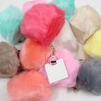 """4"""" Faux Fur Fashion Keychain Asst Lite Colors .66 each"""