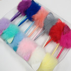 Pom Pom Fur Top Pen w/ Glitter Cat Ears Asst Colors .56 each