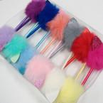 Pom Pom Fur Top Pen w/ Glitter Cat Ears Asst Colors .56 each