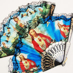 "9"" Asst Style Religious Picture Lace Hand Fans .54 each"