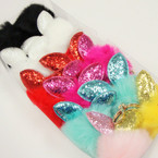 "3"" Faux Fur Keychain w/ Sparkle Bunny Ears  12 per pk @ .60 each"