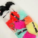 """3"""" Faux Fur Keychain w/ Tassel & Pink Heart  12 per pk @ .60 each"""
