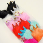 "3"" Faux Fur Keychain w/ Glitter Crown  12 per pk @ .60 each"