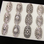 4 Style Cast Silver Fashion Ring w/ Crystal Stone  .54 each