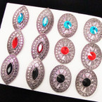 2 Style Cast Silver Fashion Ring w/ Colored Stone  .54 each