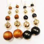 "4"" Lightweight Wood & Gold Sequin Beaded Fashion Earrings .54 each"