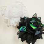 "4"" White/Blk DBL Flower Jaw Clip Bows Shiney Rainbow Effect .54 each"