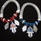 Silver Mesh Stretch Bracelets w/ Hamsa Charms  .56 each