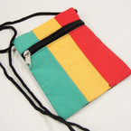 "4.5"" X 5.5"" Rasta Color Zipper Long Strap Side Bags .56 each"