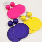 "4"" Big Size Wood Ball & Disc Fashion Earrings .54 each"