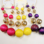 "4"" Lightweight Wood & Gold Sequin Beaded Fashion Earrings Brights  .54 each"