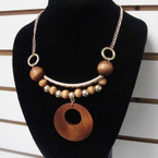 "18"" Wood Bead Fashion  Necklace w/ Gold Bar & Wood Disc .58 each"