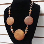 "20"" Wood Bead Fashion  Necklace w/ Big Wood Discs .58 each"