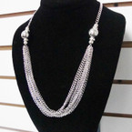 "20"" Gold & Silver Multi CHain Necklace w/ Large Bead & Mini Crystals .58 each"