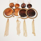 "9"" Gold & Wood Disc Fashion Earrings w/ Dangle Chains  .54 each"