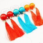 "5"" Big Wood Bead Fashion Earrings w/ Dangle Tassels  .54 each"