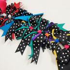 Big Multi Color Cheer Gator Clip Bows w/ Poka Dots .56 ea