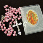 "36"" Mix Color Pearl Bead Rosary in Frosted Bible Case .56 each"