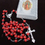 "36"" Mix Color Scented Wood  Bead Rosary in Frosted Bible Case .56 each"