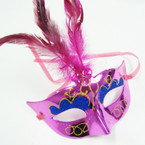 Asst Color Handcrafted Party Masks w/ Feathers .56 each