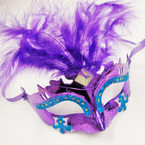 Mixed Color Handcrafted Party Masks w/ Feathers .56 each